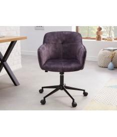 Chaise de bureau design en velours gris foncé