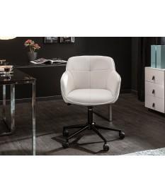 Chaise de bureau design en cuir synthétique blanc