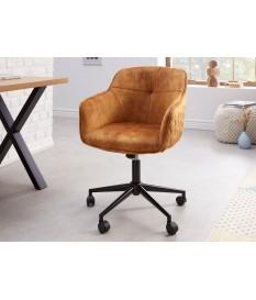 Chaise de bureau design en velours jaune or