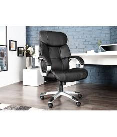 Chaise de direction confortable en cuir synthétique noire
