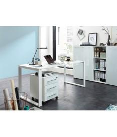 Table de travail bureau blanc verre blanc