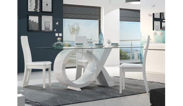 Table à manger en verre et pied design laqué blanc