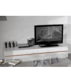 Meuble TV long blanc laqué design avec éclairage Led