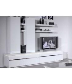 Meuble TV mural blanc laqué design avec éclairage Led