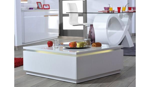 Table basse carrée blanc laqué design avec éclairage Led