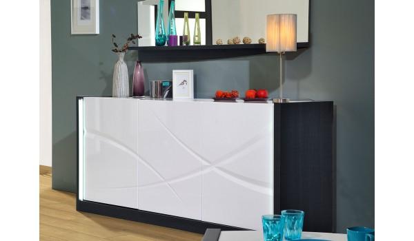 Buffet design blanc laqué 3 portes avec éclairage Led