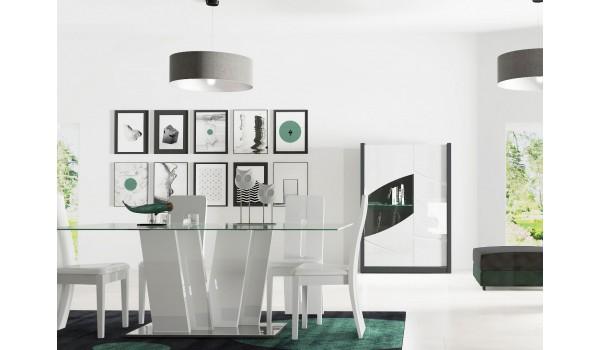 Table à manger rectangulaire en verre et pied laqué blanc