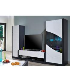 Ensemble de meuble TV blanc laqué design avec éclairage Led