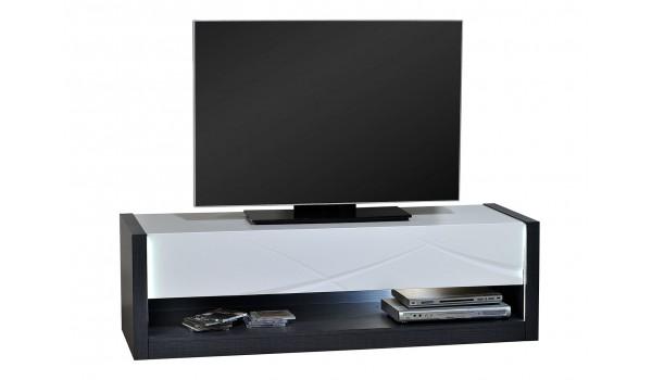 Meuble TV bas blanc laqué et gris avec éclairage Led