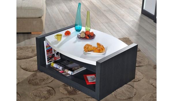 Table basse laquée blanche et gris foncé