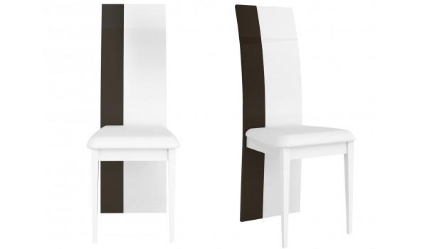 Chaise de table design blanche et grise laquée