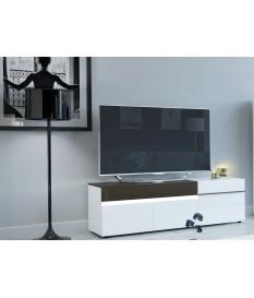 Meuble TV laqué 3 portes 1 tiroir avec led intégré