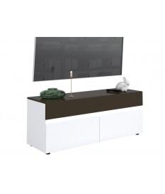 Petit meuble TV laqué 2 portes 1 tiroir avec led intégré