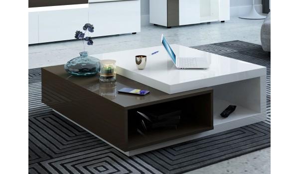 Table basse carrée blanche et gris laqué brillant