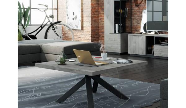 Table basse bois et métal inspiration industriel