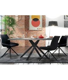 Table à manger bois et métal style industrielle