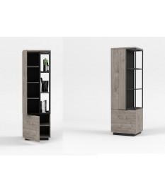 Rangement 2 portes et étagères ouvertes bois grisé et métal noir