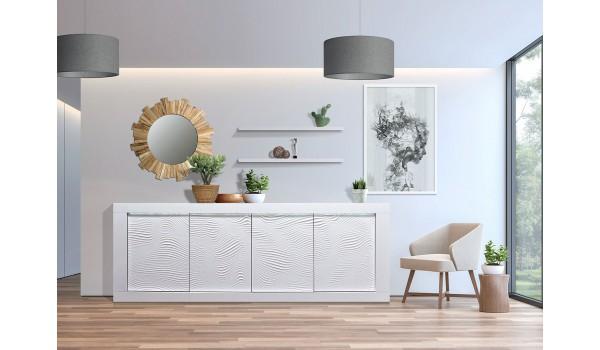 Buffet design 4 portes avec reliefs blanc 220 cm