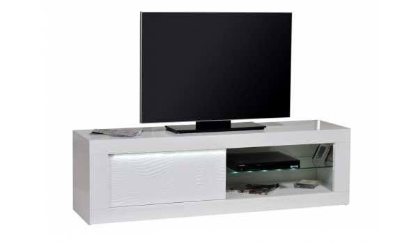 Meuble TV design blanc laqué avec reliefs 170 cm