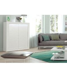Bahut haut design 2 portes avec reliefs blanc laqué