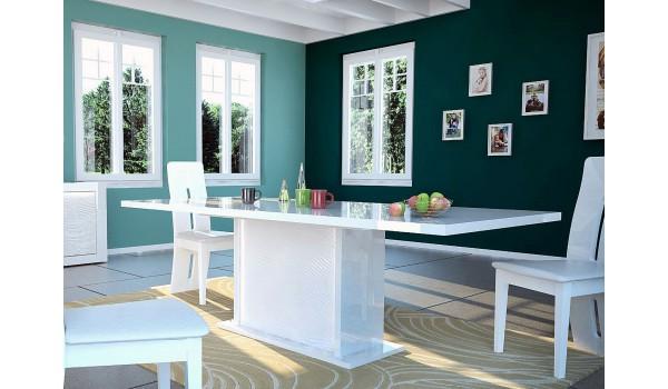 Table à manger blanche design - Pieds central éclairage intégré