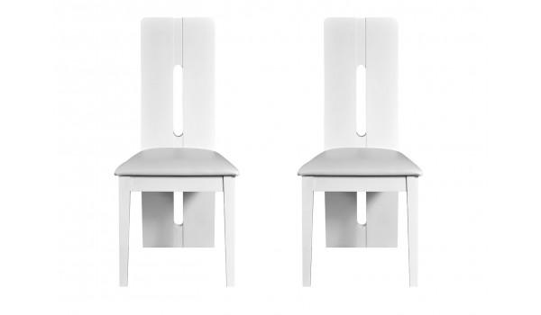 Lot de 2 chaises de table laquées blanc