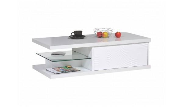 Table basse rectangulaire laqué blanc 120 cm