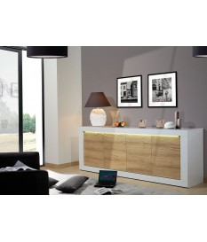 Buffet design blanc et bois avec relief 220 cm