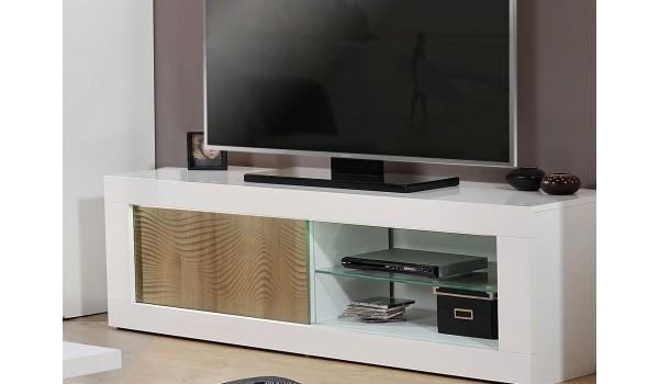 Meuble tv blanc et bois avec relief 3D - 170 cm