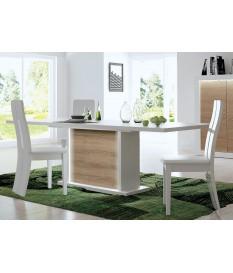 Table extensible blanc et bois - Pieds central éclairage intégré