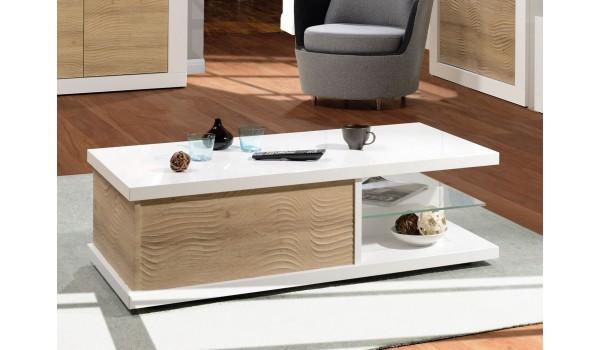 Table basse rectangulaire laqué blanc et bois 120 cm