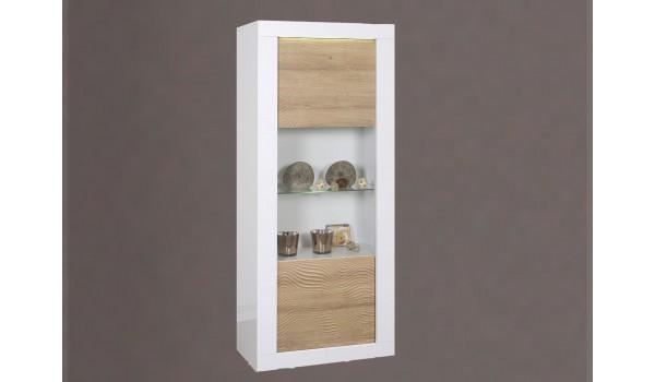 Vitrine design blanche / bois avec reliefs et éclairage led