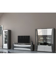 Ensemble de meuble tv design blanc et gris laqué