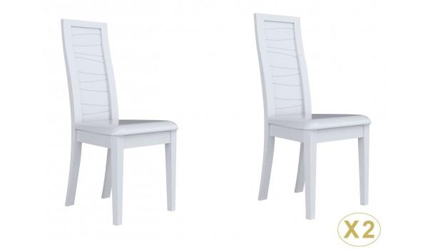 2 chaises de table design laquées blanches