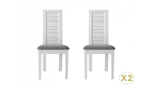 2 chaises de table design laquées blanches et grises