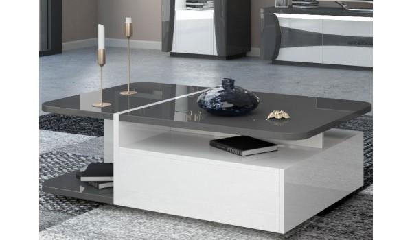 Table de salon design blanche et grise laquée