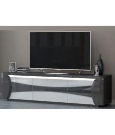 Meuble TV design blanc et gris laqué 180 cm