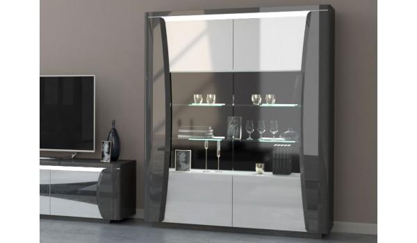 Meuble vitrine design - Blanc et gris laqué