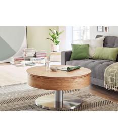 Table basse ronde avec rangement bois et inox