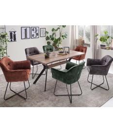 Table rectangulaire bois et métal forme originale