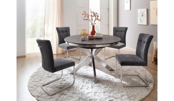 Table ronde céramique anthracite pieds acier brossé