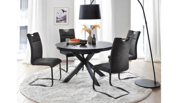 Table ronde céramique anthracite pieds acier noir