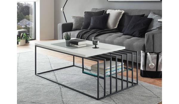 Table basse design blanche et métal noir