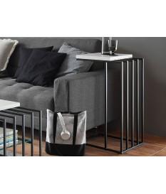 Bout de canapé design blanc et métal noir