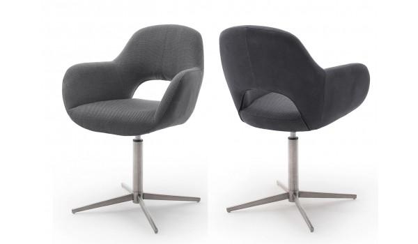 2 Chaises fauteuils de table pivotants - Pieds chromé ou noir