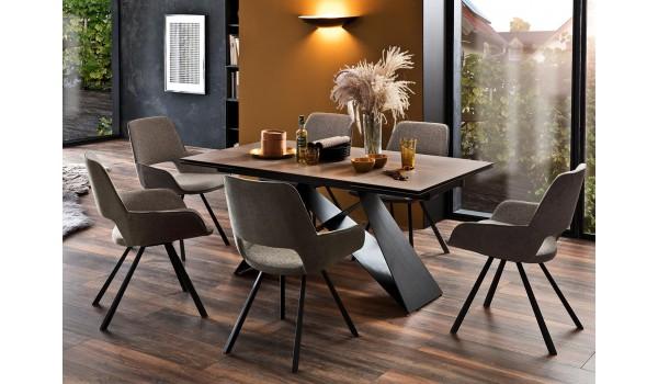 Table céramique déco chêne 160-240 cm