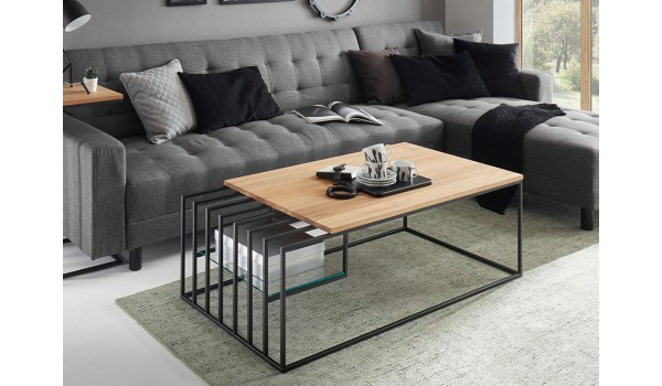 Table basse design bois et métal 120 cm