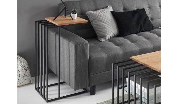 Bout de canapé design bois et métal noir