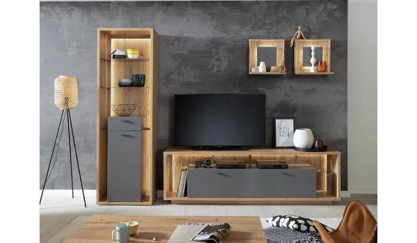 Composition de meuble de salon tv bois et gris laqué
