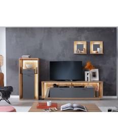 Combinaison de meuble de salon tv bois et gris laqué